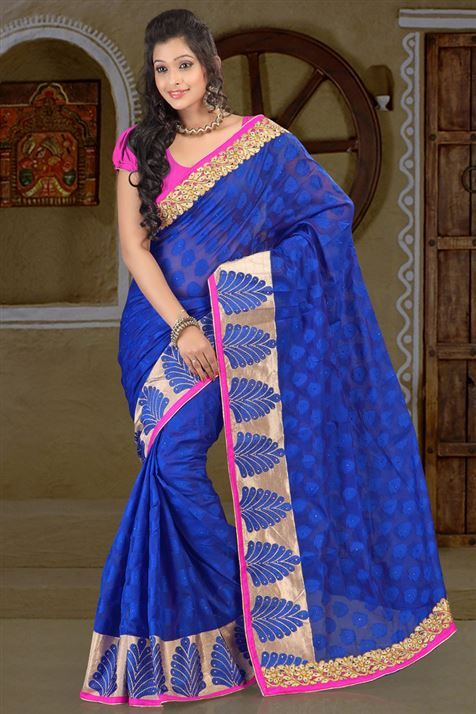Alluring Cotton Blue party wear embroidered saree