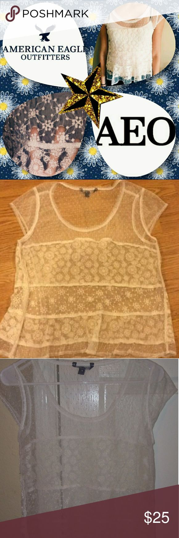 SALE!!American Eagle Outfitters Lace Top See through lace American Eagle top. T shirt style. Lace material. Sticted patterns. Frilly lace bottom hem. Light weight. No stains. Worn a few times. Size small. Perfect for the summer! American Eagle Outfitters Tops