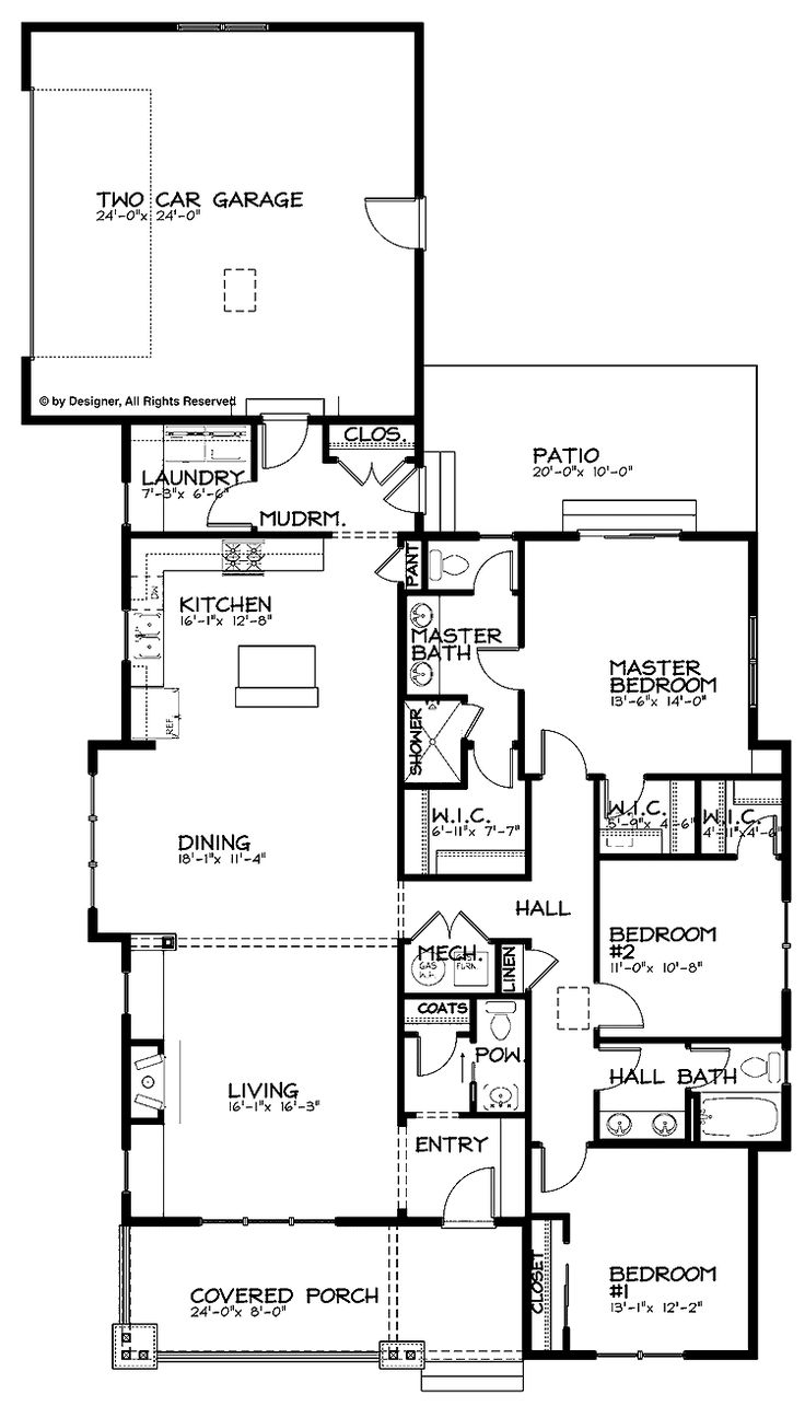 home plans homepw24922 1887 square feet 3 bedroom 2 bathroom bungalow home with 2 - Bungalow Floor Plans