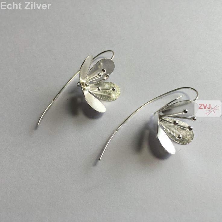 Zilveren grote haak bloem oorbellen threader €15.95 inclusief verzenden  - ZilverVoorJou Echt 925 zilveren sieraden
