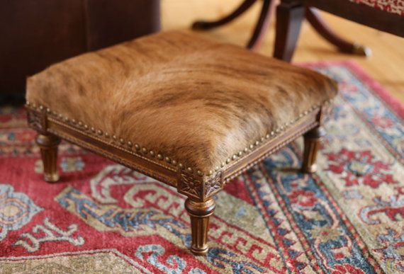 Cowhide Footstool  French Louis XVI  Stool  Giltwood by TheCowPelt