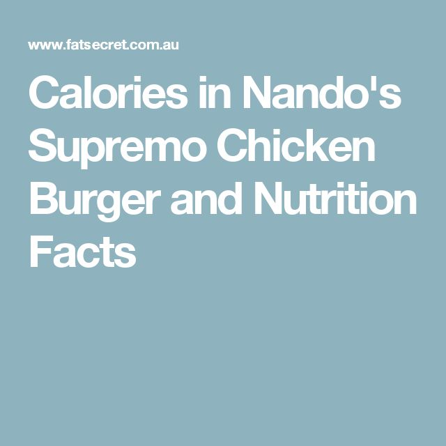 Calories in Nando's Supremo Chicken Burger and Nutrition Facts