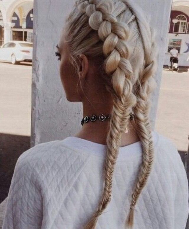 Beautiful dutch braid and fishtail braid combo