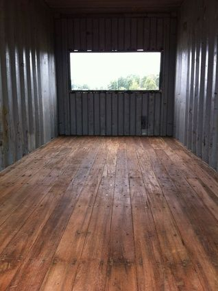 Wilson's Rozelle studio taking shape; inside the top shipping container, soon to be office.