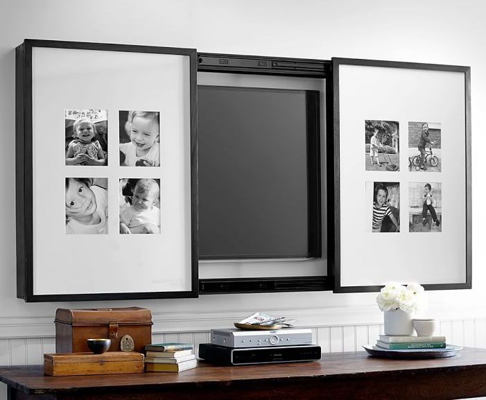 hidden tvs- gallery frame tv cover to display photos or artwork for a 60-inch tv - Pottery Barn via Atticmag