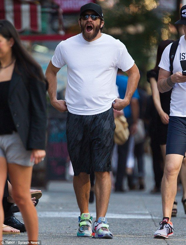 Brawn: Jake Gyllenhaal looks to have held on to his beefy physique as he stepped out in NY...