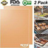#1: RVZHI Copper Grill Mat Set of 2  Non-stick BBQ Grill & Baking Mats  FDA Approved PFOA Free Reusable and Easy to Clean  Works on Gas Charcoal Electric Grills  15.75 x 13 inches