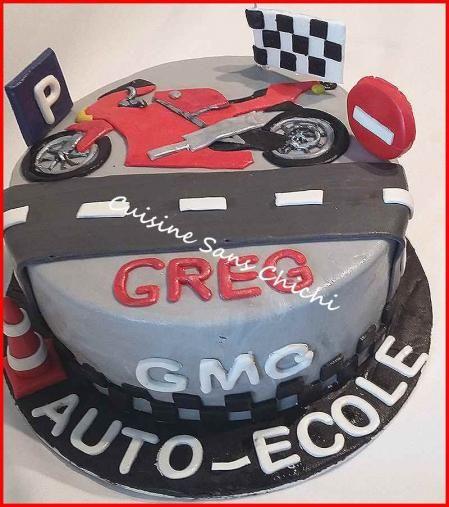 Gâteau moto. Pour la réussite d'un permis moto.
