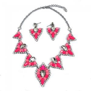 PINK TRIANGLE NECKLACE AND EARRINGS SET- GIFT BOXED -                      – Top Ju Ju