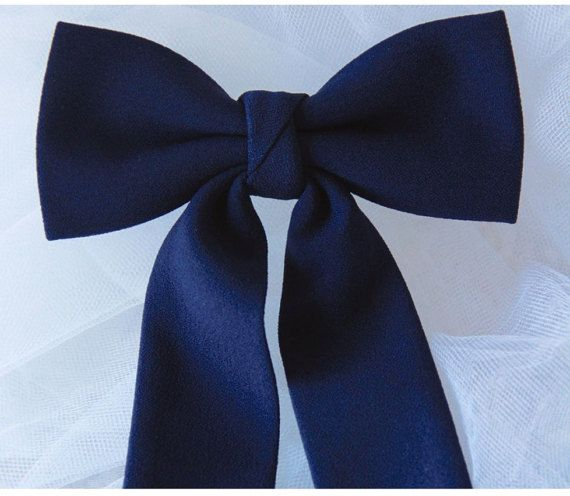 Navy Blue Slim Brooch Women's Bow Tie Genuine by VaniaSzaszBows