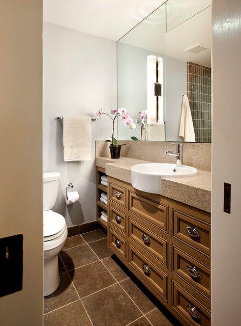 Brilliant bathroom decor ideas with dark tile floor and for Brilliant bathroom designs