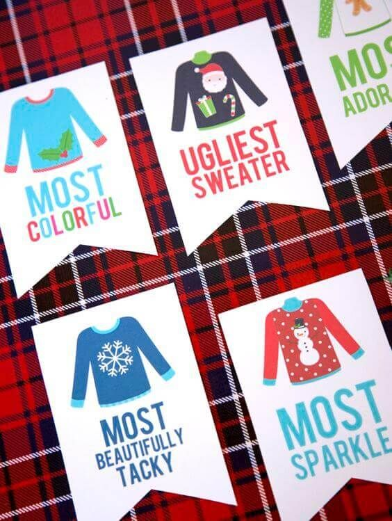 Workplace Christmas Party Ideas Part - 19: Use Heat Transfer Materials And A Heat Press To Make Ugly Sweaters. THEN  Use These Free Printable Ugly Sweater Christmas Party Awards.