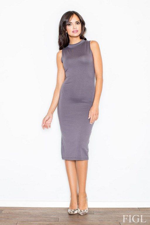 Szara sukienka idealna dla figury typu klepsydra