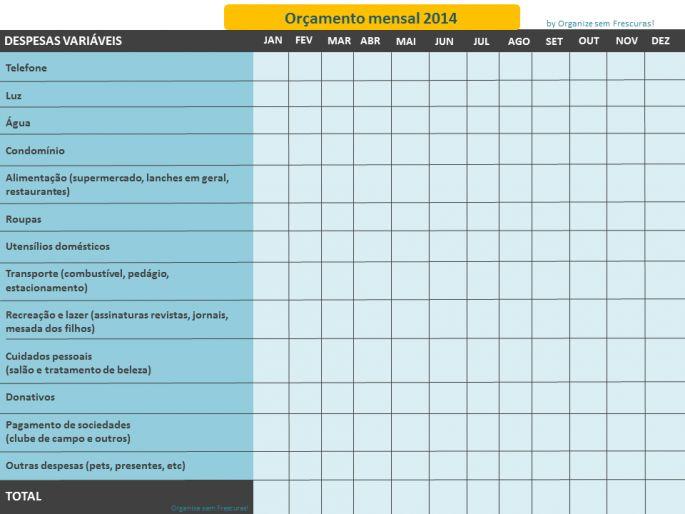 Organize sem Frescuras | Rafaela Oliveira » Arquivos » Planilha de gastos mensais para imprimir