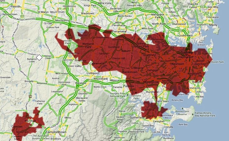 This image illustrates how large the 2013 Blue Mountains bush fire was, alluding to the extent of damage it caused.