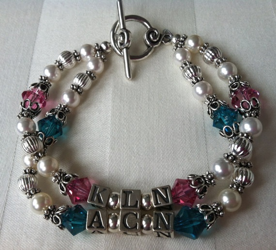 Double Strand Mother's Bracelet with Children's Initials, Swarovski Crystals & Pearls, Silver Letter Blocks.    20% off all items!