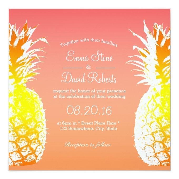 The 1835 best tropical wedding invitations images on pinterest tropical pineapple elegant wedding invitations stopboris Choice Image