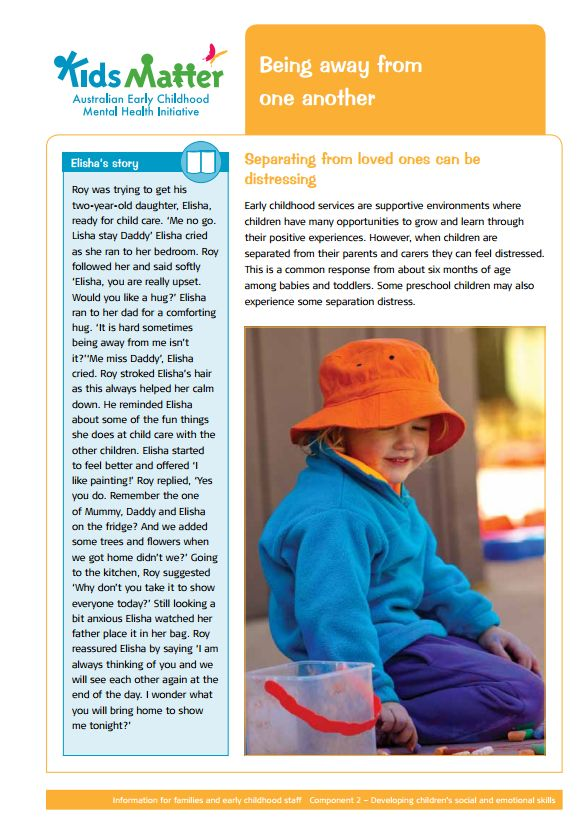 Top tips: Being away from one another. Information sheets for families and ECEC staff.