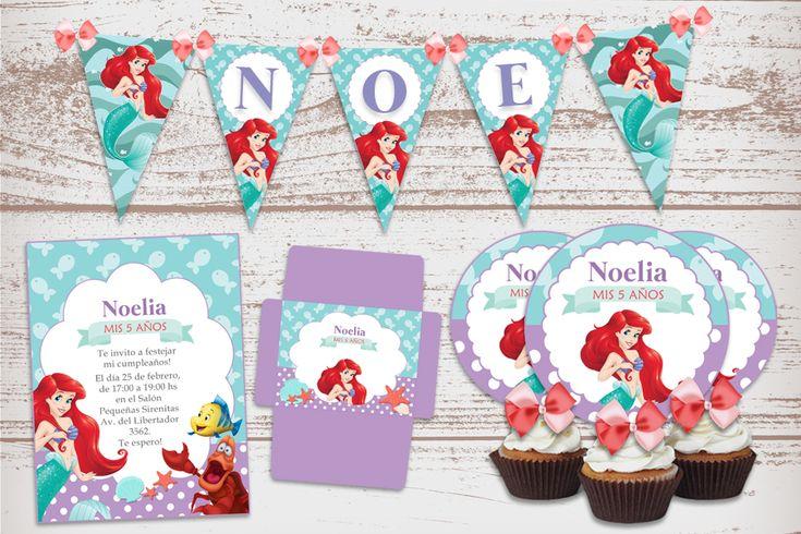 Kit Imprimible La Sirenita Decoración Candy Bar Cumpleaños