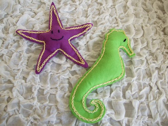 Felt Baby / Children Marine Felt Toys / soft dolls.  Purple Starfish & Green Seahorse.  Hand made felt toys via Etsy