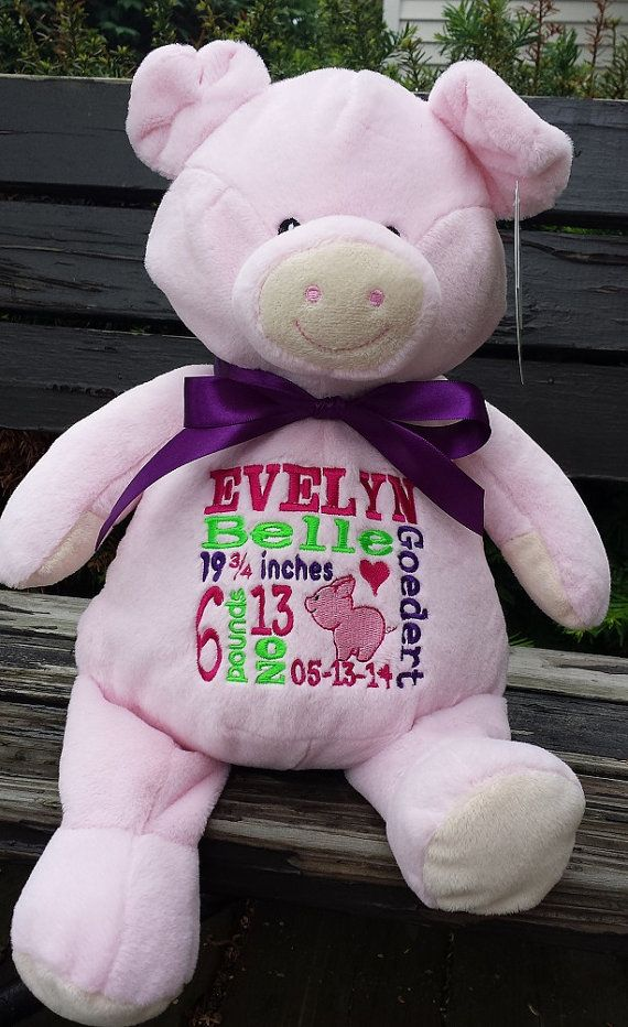 9 best personalized stuffed animals images on pinterest baby personalized baby gift stuffed plush pig by countryclubgifts negle Choice Image