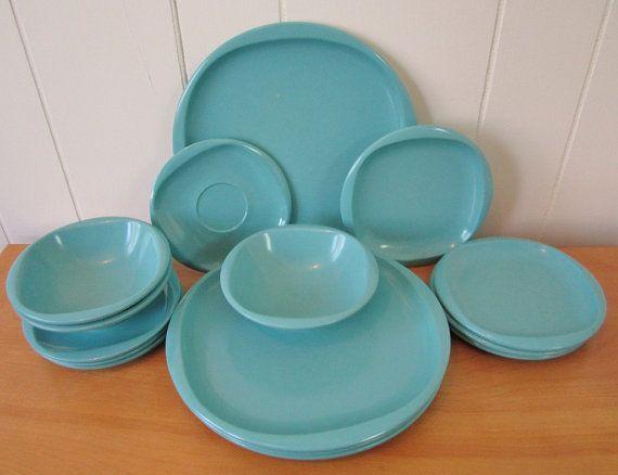 15 piece Boontonware aqua teal bowls by vintagegoodies on Etsy