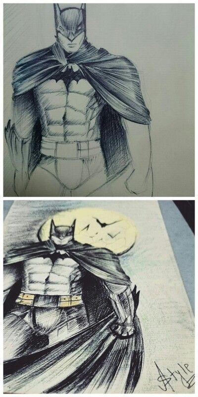 #Batmam #Cartoon #Hatching #Drawing #Astyle Medium: #Pen and #Highlighter