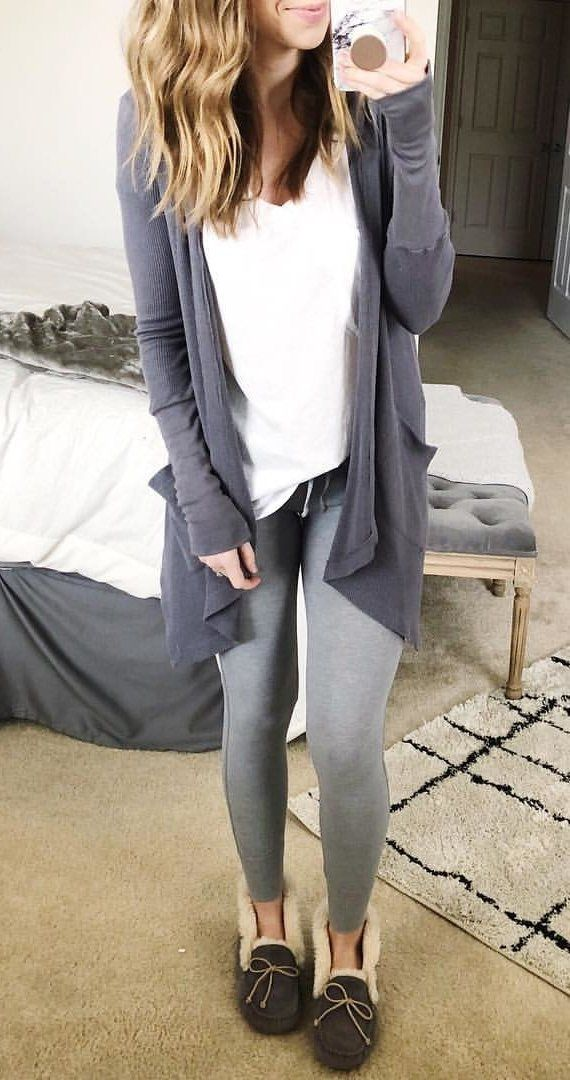 #fall #outfits women's gray cardigan, white v-neck shirt and gray leggings outfit