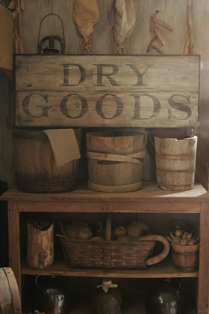 primitive 19 home decorating ideas DRY GOODS sign would look great on the door to pantry