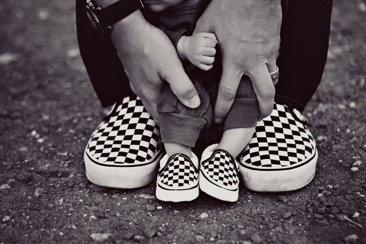 Baby and dad's matching checkerboard slip-ons
