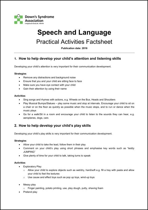 FACTSHEET: Speech and language – practical activities | Down's Syndrome Association