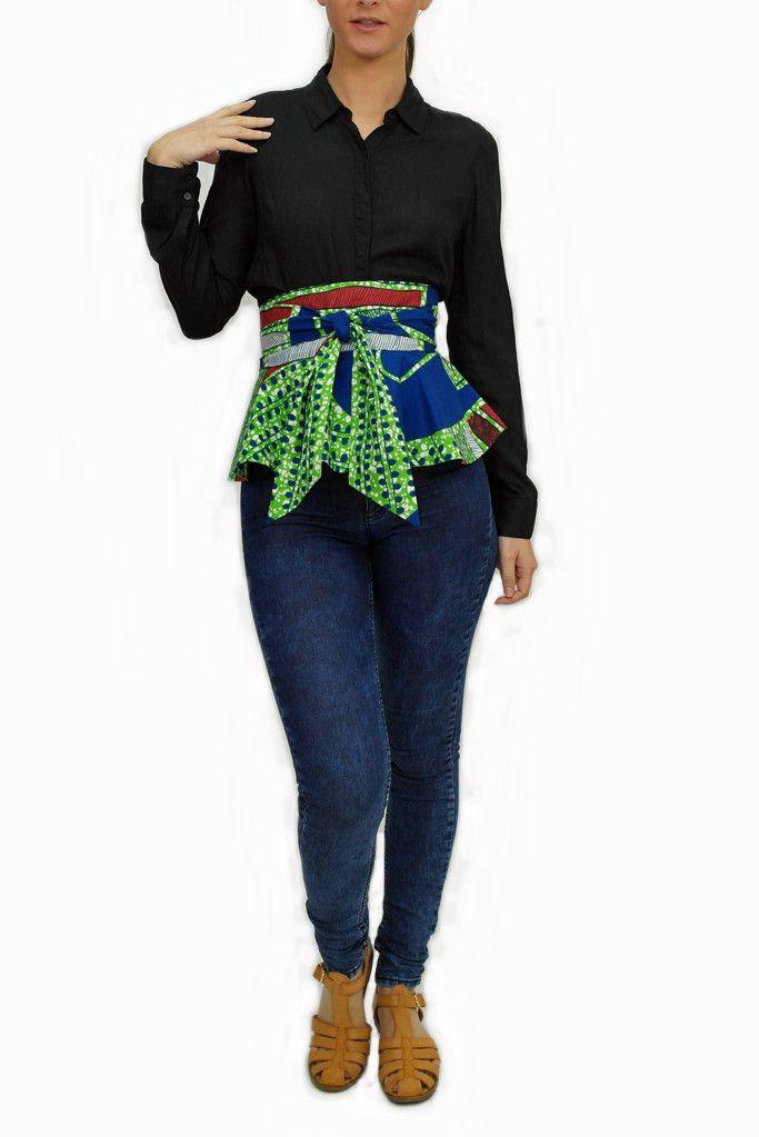 Cucumber African Print Peplum Belt - Greens – Sapelle