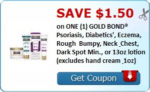 New Coupon!  SAVE $1.50 on ONE (1) GOLD BOND® Psoriasis, Diabetics', Eczema, Rough & Bumpy, Neck & Chest, Dark Spot Min., or 13oz lotion (excludes hand cream & 1oz)! - http://www.stacyssavings.com/new-coupon-save-1-50-on-one-1-gold-bond-psoriasis-diabetics-eczema-rough-bumpy-neck-chest-dark-spot-min-or-13oz-lotion-excludes-hand-cream-1oz/