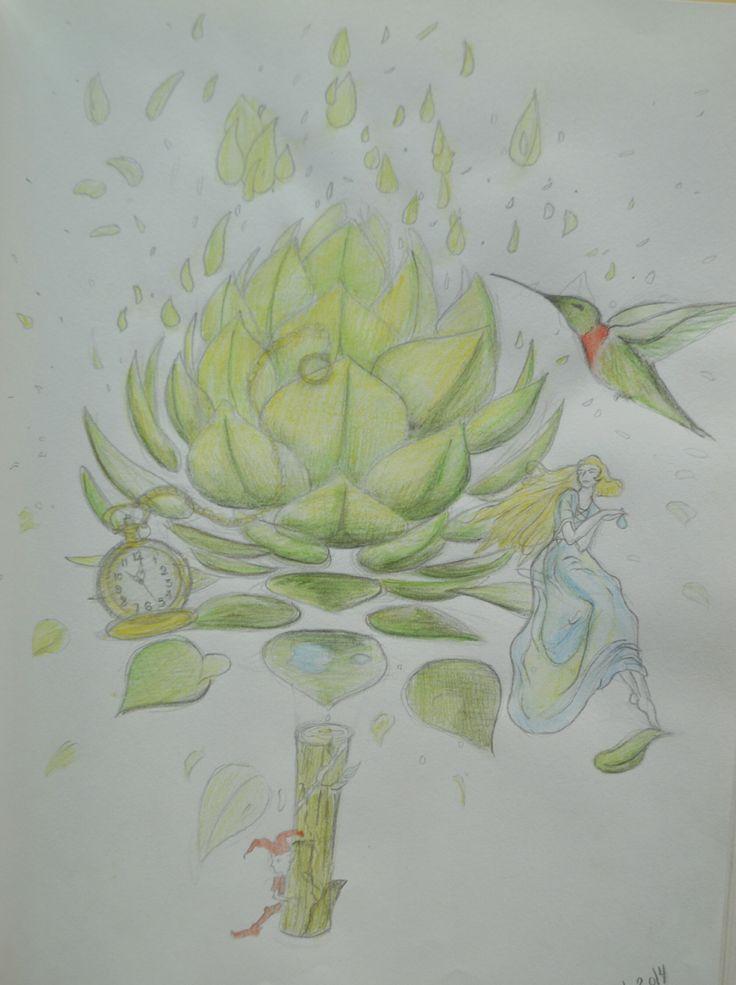 Dibujo creado a partir de una alcachofa abriéndose con un reloj de bolsillo, un colibrí y una ninfa