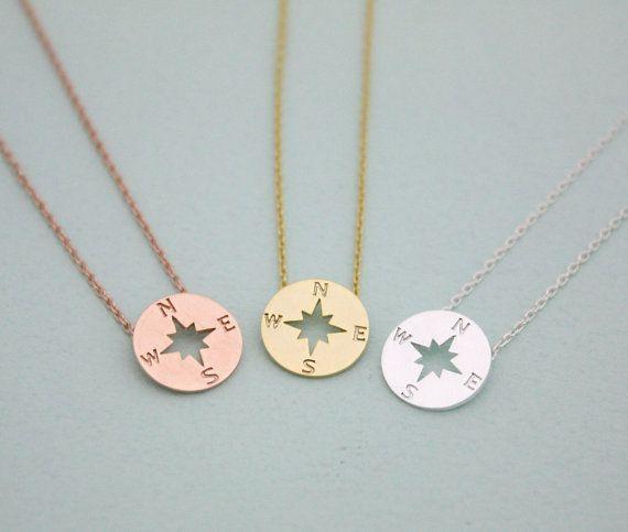 Rose Gold Kompass Halskette Sterling Silber Kompass von LaSenada