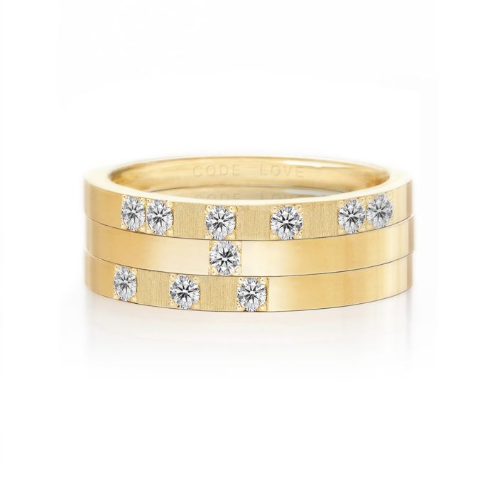 CODE LOVE 'YES' Morse Code Union Ring - These unique and beautiful Union Rings have been designed to stack. There are 26 rings in the collection each representing a letter of the English alphabet. Designed using brilliant cut diamonds set in either rose, yellow or white gold you can create whatever your heart desires! www.codelove.com.au