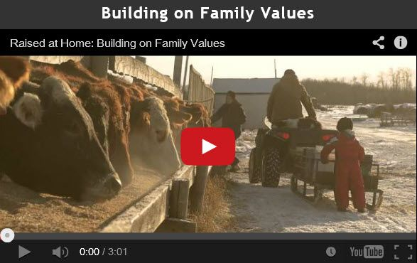 "Chapter 1/Video 1: Family motivates Darcy Hrebeniuk, who ranches outside Hudson Bay, Sask. He explains over supper how working alongside family makes the long hours worthwhile as they provide beef for other western homes.  ""If it wasn't for the family support system around me, I wouldn't be able to do this job that I love doing every day,"" says Darcy. ""We rely on the Co-op to assist us in being a profitable farm."""