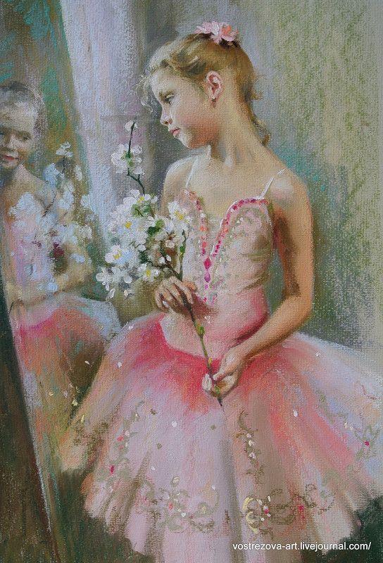 Маленькая хозяйка большой палитры - Девочка с веткой цветущей яблони.