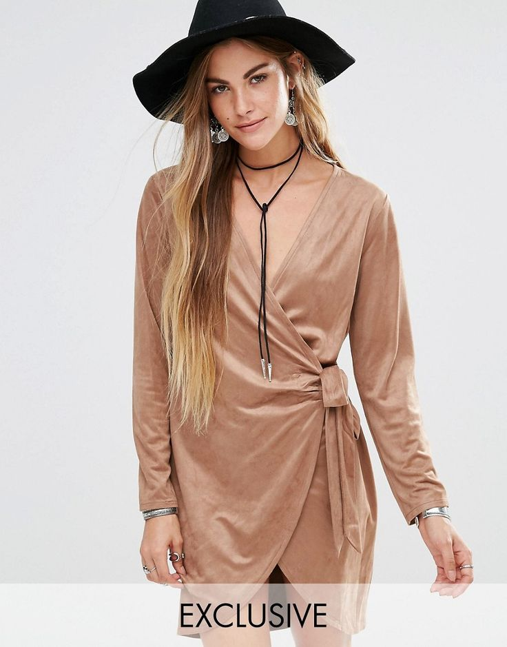 Young Bohemians - Kleid aus weichem Samt mit Wickedesign vorn - Bronze - Farbe:Bronze