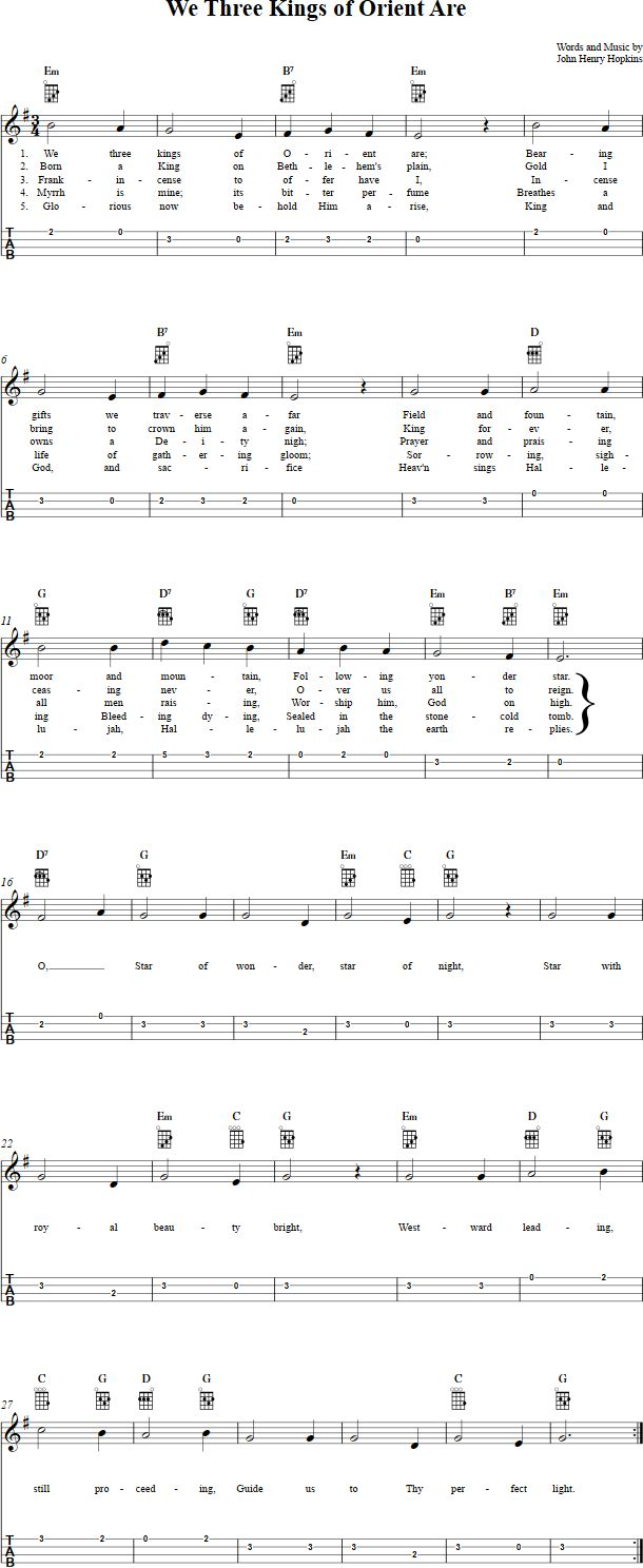 We Three Kings of Orient Are Ukulele Sheet Music Ukulele