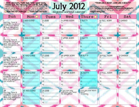 July 2012 workout calendar