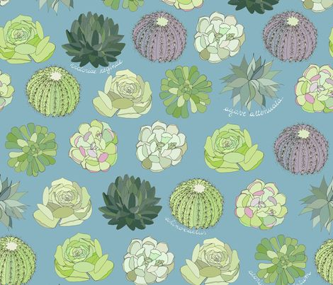 Succulent Garden fabric by ex-m on Spoonflower - custom fabric