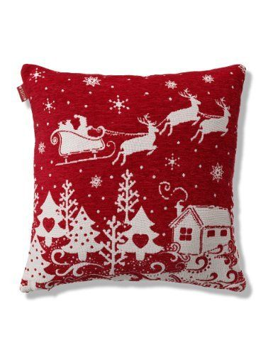 Santa Sleigh Chenille Cushion-Marks & Spencer