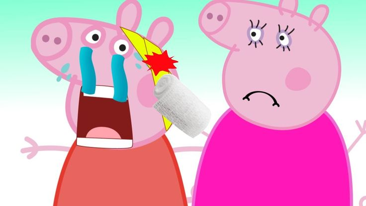 Peppa Pig Сrying Bad Baby Playing Doctor Learn Colors With bandage Finge...