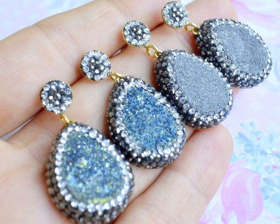 #black #turkish #earrings, gray druzy drop earrings, grey drusy dangle earrings jewelry, black shiny druzzy natural raw stone, turkish jewelry, bridal wedding jewellery