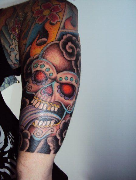 25 best ideas about sugar skull sleeve on pinterest skull sleeve tattoos skull face tattoo. Black Bedroom Furniture Sets. Home Design Ideas