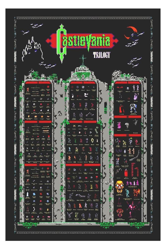 castlevania nes #nintendo trilogy 1 2 3 retro style poster monsters  from $17.99