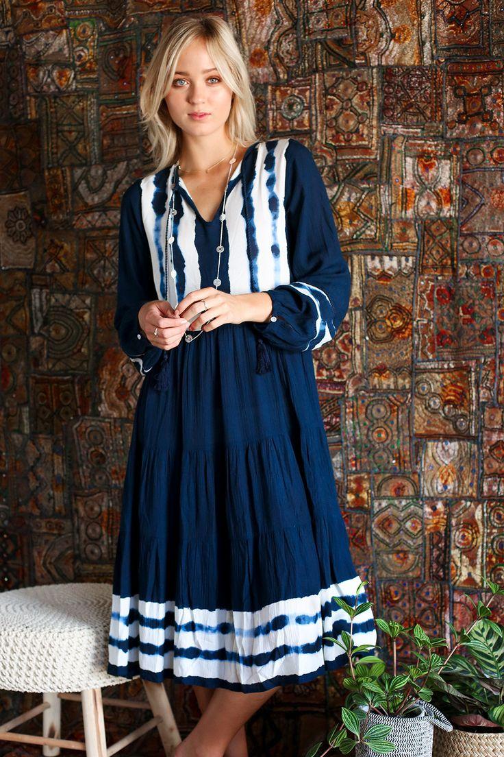 Amari Dress in Navy – Adrift Clothing