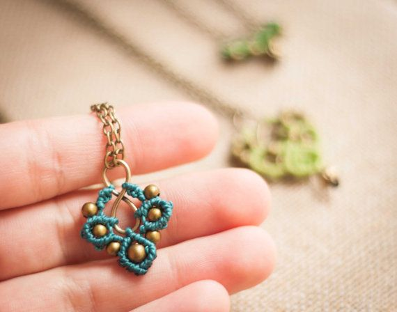 Clover MicroMacrame Necklace by OuiClementine on Etsy