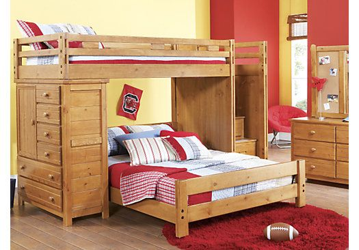 Shop for a Creekside Taffy  Twin Full Step Bunk Bedroom w Chest at Rooms To Go Kids. Find  that will look great in your home and complement the rest of your furniture. #iSofa #roomstogo